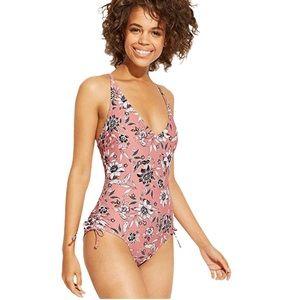 Kona Sol Mauve/White Floral Swimsuit Size M